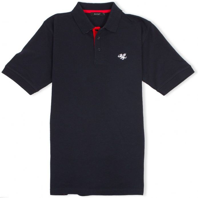 Senlak Striped Under Collar Polo Shirt in navy with Anglo-Saxon White Dragon logo